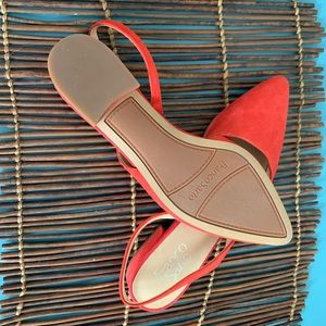 NWOT- Red Franco Sarto Red Suede Flats